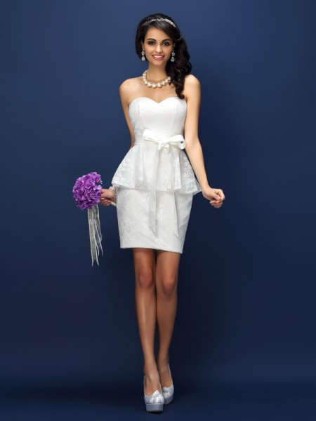 Sheath/Column Sweetheart Sleeveless Lace Bowknot Short/Mini Satin Bridesmaid Dresses