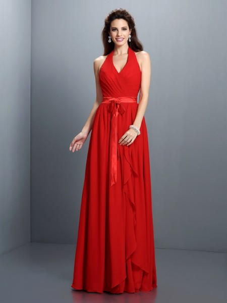 A-Line Halter Sleeveless Floor-Length Chiffon Bridesmaid Dresses with Pleats