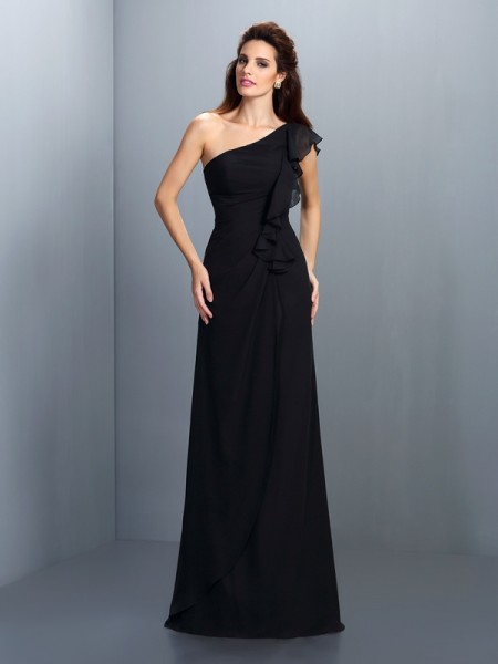 Sheath/Column One-Shoulder Sleeveless Floor-Length Chiffon Bridesmaid Dresses with Pleats