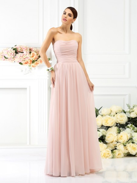 A-Line Strapless Floor-Length Chiffon Bridesmaid Dresses with Pleats
