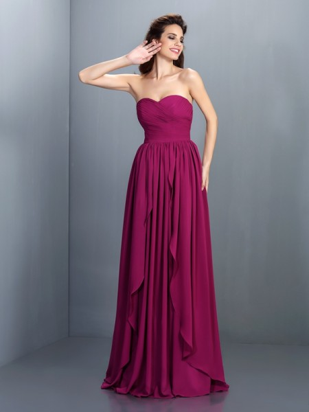 Sweetheart Sleeveless Floor-Length Chiffon Prom/Evening Dresses with Pleats