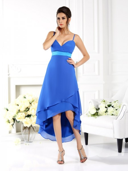 A-Line/Princess Spaghetti Straps Sleeveless Asymmetrical Chiffon Dresses with Ruffles