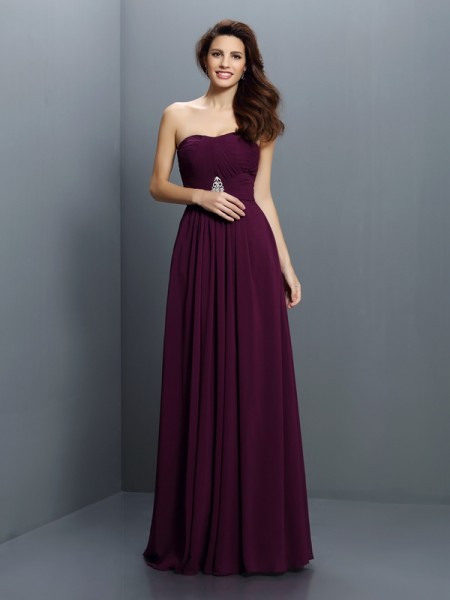 A-Line/Princess Strapless Floor-Length Chiffon Bridesmaid Dresses with Pleats