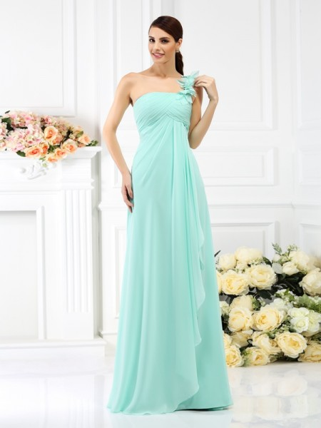 A-Line/Princess One-Shoulder Sleeveless Floor-Length Chiffon Bridesmaid Dresses with Pleats