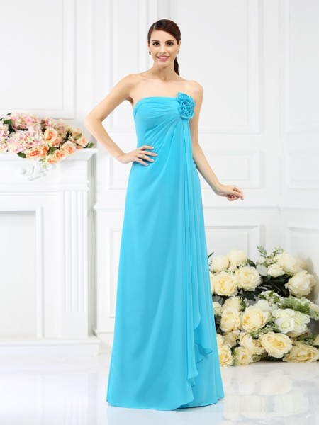 Strapless Chiffon Long Bridesmaid Dresses with Hand-Made Flower