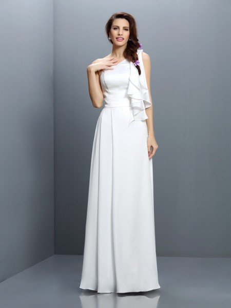 A-Line/Princess One-Shoulder Sleeveless Floor-Length Chiffon Bridesmaid Dresses with Ruffles