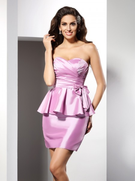 Sheath/Column Sweetheart Sleeveless Bowknot Short/Mini Taffeta Dresses