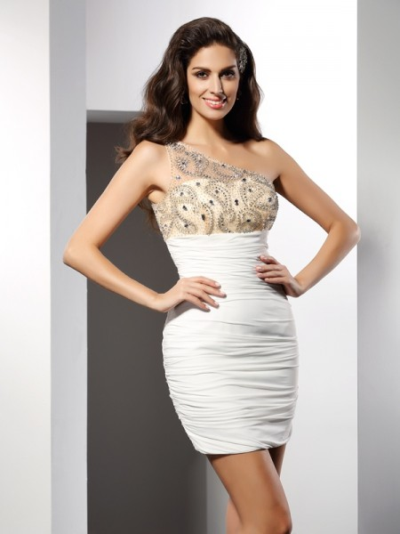 Column One-Shoulder Chiffon Short Cocktail/Homecoming Dresses with Beaded