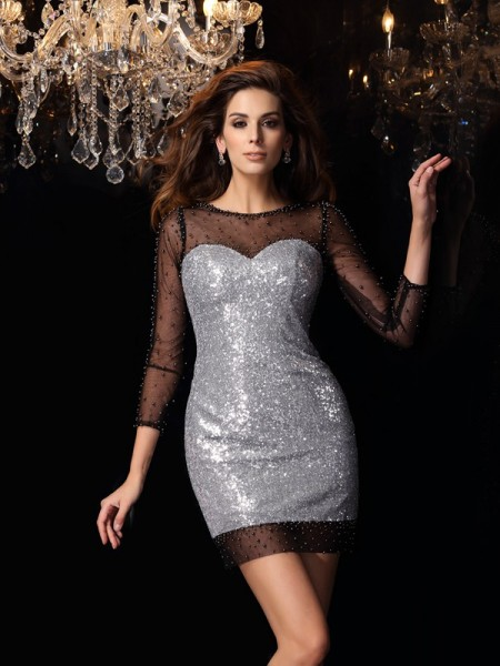 Sheath/Column Scoop Sequins 3/4 Sleeves Short Cocktail/Homecoming Dresses with Beading
