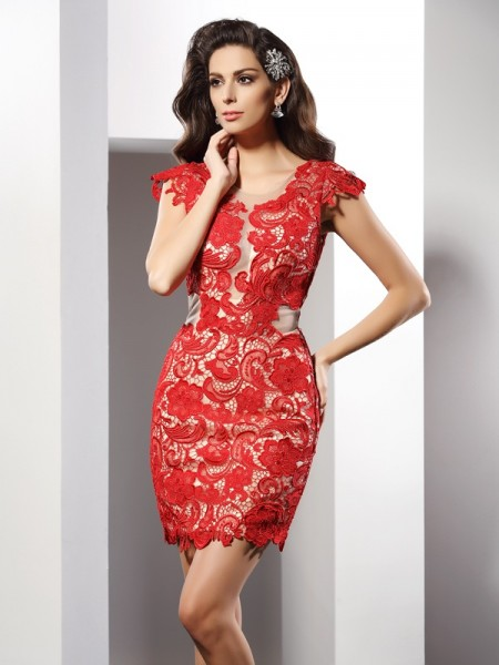 Sheath/Column Scoop Sleeveless Short/Mini Lace Elastic Woven Satin Dresses