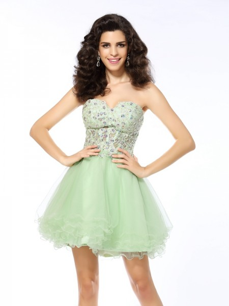Sweetheart A-Line/Princess Sleeveless Short/Mini Satin Dresses with Ruffles