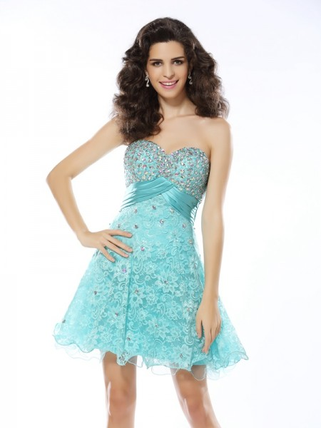 A-Line/Princess Sweetheart Satin Sleeveless Short/Mini Dresses with Ruffles