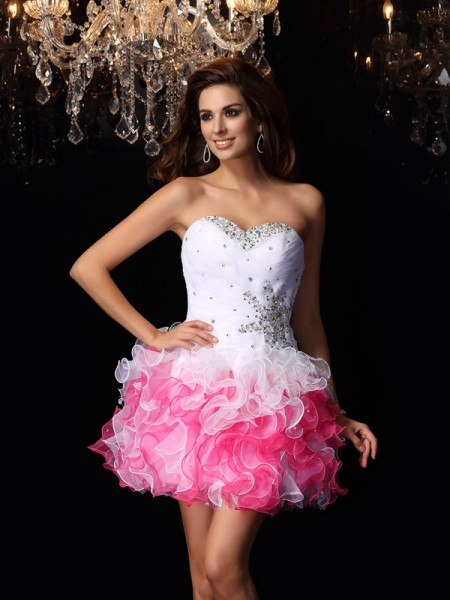 A-Line/Princess Sweetheart Organza Sleeveless Short Cocktail/Homecoming Dresses with Ruffles