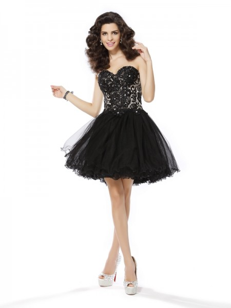 A-Line/Princess Net Sweetheart Sleeveless Short/Mini Dresses with Ruffles