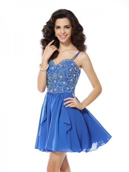 A-Line/Princess Spaghetti Straps Sleeveless Chiffon Short Cocktail/Homecoming Dresses with Beading