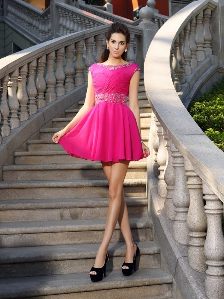 A-Line/Princess Scoop Chiffon Sleeveless Short Cocktail/Homecoming Dresses with Beading