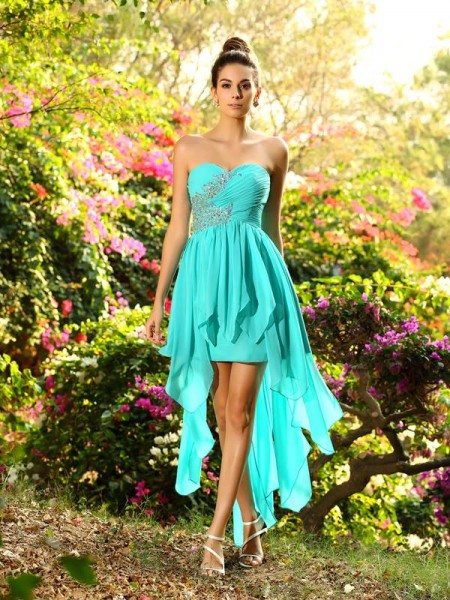 A-Line/Princess Chiffon Asymmetrical Dresses with Beading