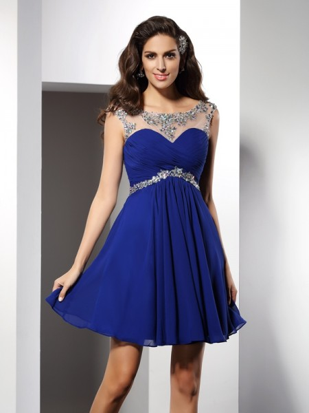 A-Line/Princess Scoop Sleeveless Chiffon Short Cocktail/Homecoming Dresses with Beading