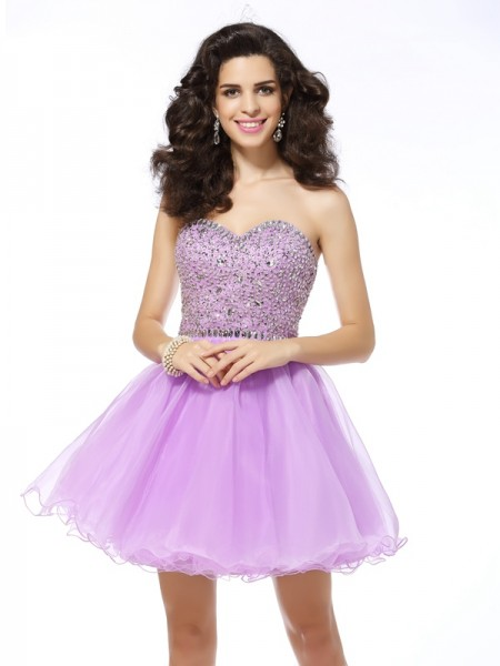 A-Line/Princess Sleeveless Sweetheart Organza Short/Mini Dresses with Ruffles