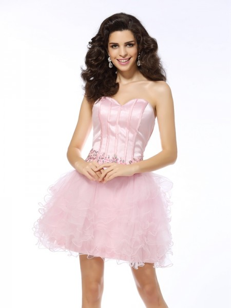 A-Line/Princess Sleeveless Short/Mini Net Sweetheart Dresses with Ruffles