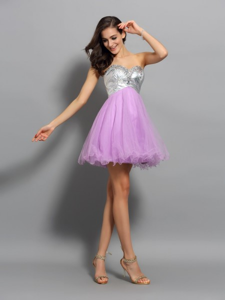 Sweetheart Sleeveless A-Line/Princess Short/Mini Organza Dresses with Ruffles