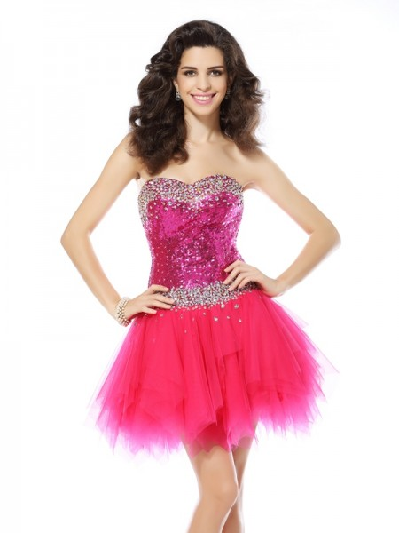 A-Line/Princess Sweetheart Sleeveless Short/Mini Net Dresses with Beading
