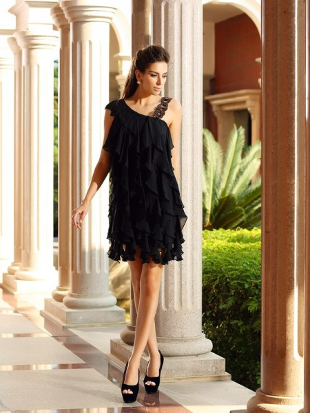 A-Line/Princess Sleeveless Chiffon Short/Mini Dresses with Ruffles