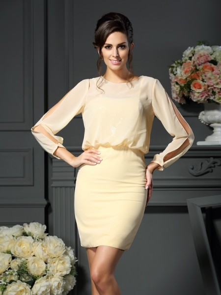 Sheath/Column Long Sleeves Scoop Short/Mini Chiffon Mother of the Bride Dresses