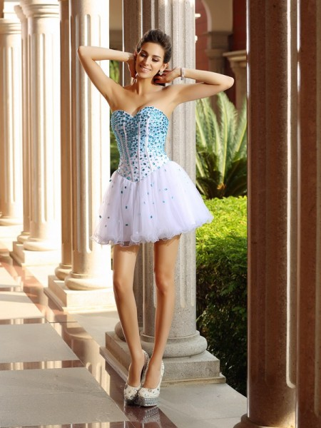 A-Line/Princess Sleeveless Sweetheart Tulle Short/Mini Dresses with Ruffles