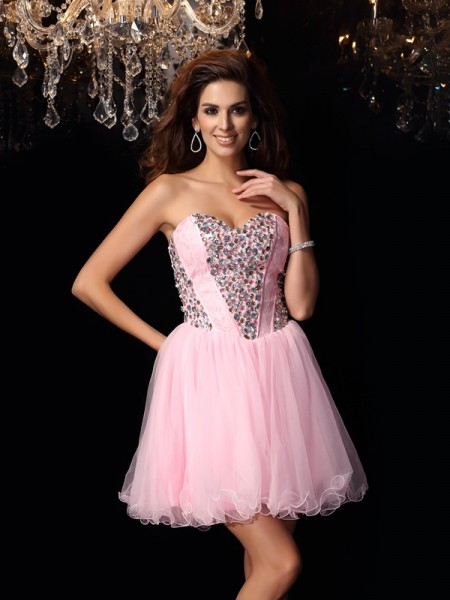 A-Line/Princess Sweetheart Elastic Woven Satin Sleeveless Short Cocktail/Homecoming Dresses with Ruffles