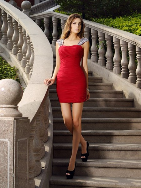 Sheath/Column Straps Chiffon Sleeveless Short Cocktail/Homecoming Dresses with Beading