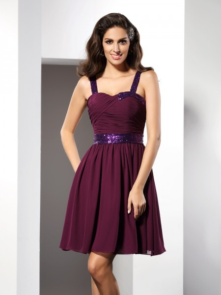 A-Line/Princess Straps Sleeveless Chiffon Short Cocktail/Homecoming Dresses with Ruched