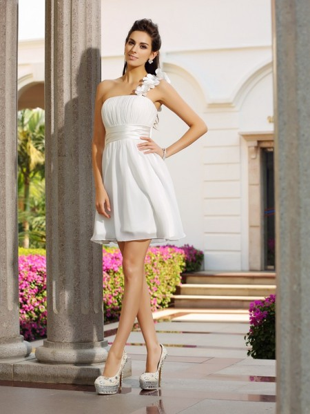 A-Line/Princess One-Shoulder Sleeveless Short/Mini Chiffon Dresses with Hand-Made Flower