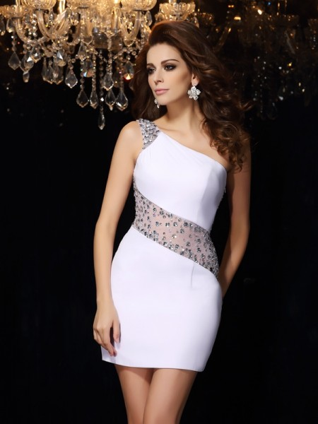 Sheath/Column One-Shoulder Sleeveless Chiffon Short Cocktail/Homecoming Dresses with Beading