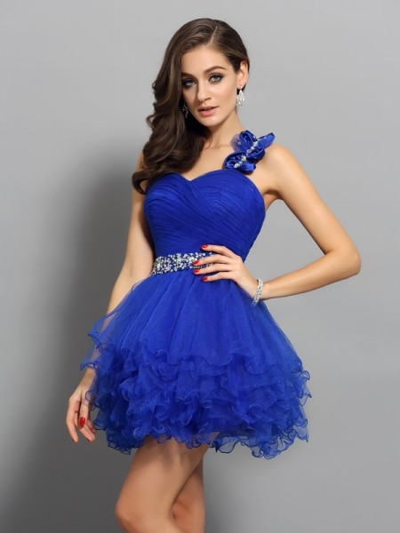 A-Line/Princess One-Shoulder Organza Sleeveless Short/Mini Dresses with Beading