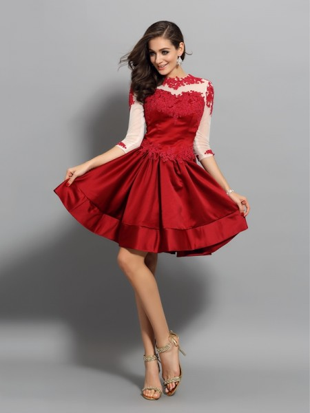 A-Line/Princess High Neck 1/2 Sleeves Satin Short/Mini Dresses with Applique
