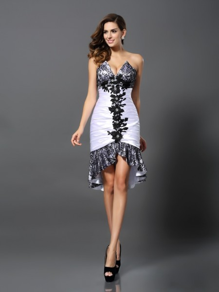 Sheath/Column Sleeveless Sweetheart Elastic Woven Satin Lace Asymmetrical Dresses