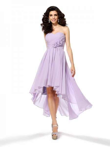 A-Line/Princess Sleeveless Sweetheart Chiffon Asymmetrical Dresses with Hand-Made Flower