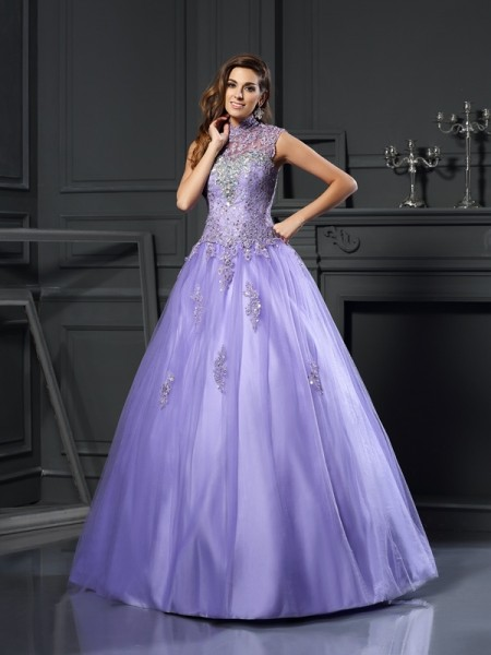 Ball Gown High Neck Sleeveless Net Floor-Length Prom Dresses with Applique with Beading