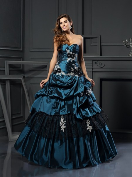 Ball Gown Sweetheart Sleeveless Taffeta Long Prom Dresses with Applique with Beading
