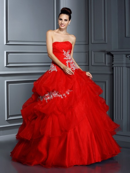 Ball Gown Strapless Sleeveless Floor-Length Organza Quinceanera Dresses with Applique