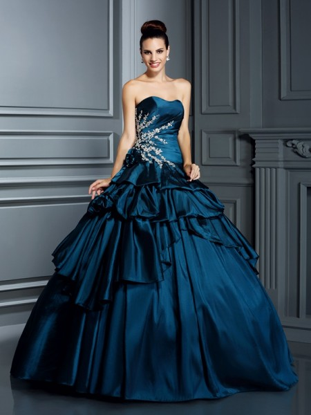 Ball Gown Strapless Sleeveless Floor-Length Taffeta Quinceanera Dresses with Beading