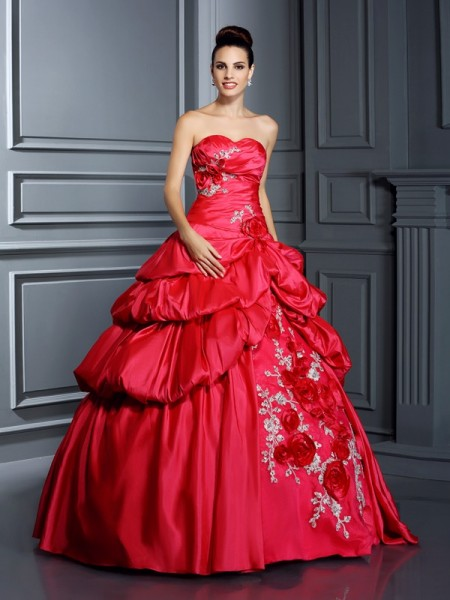 Ball Gown Sweetheart Sleeveless Floor-Length Taffeta Quinceanera Dresses with Hand-Made Flower