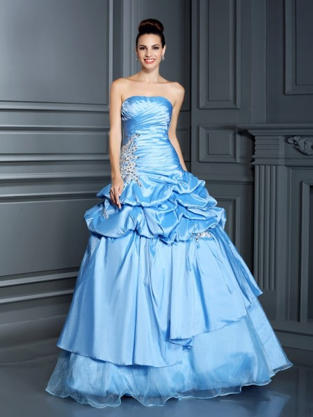 Ball Gown Sweetheart Sleeveless Floor-Length Organza Quinceanera Dresses with Ruffles