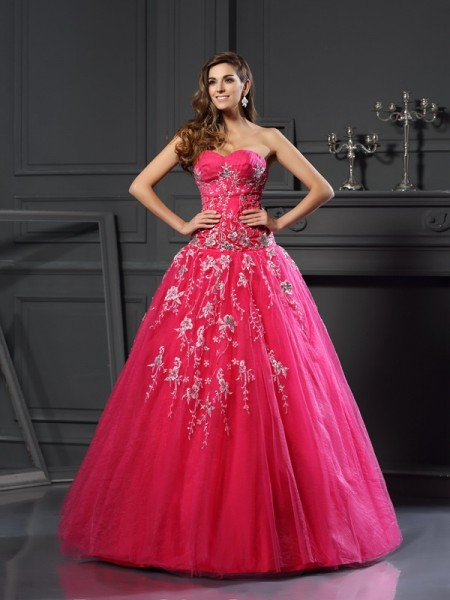 Ball Gown Sweetheart Sleeveless Net Floor-Length Prom Dresses with Applique
