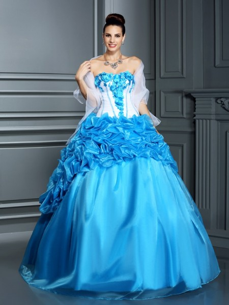 Ball Gown Sweetheart Sleeveless Floor-Length Satin Quinceanera Dresses with Ruffles