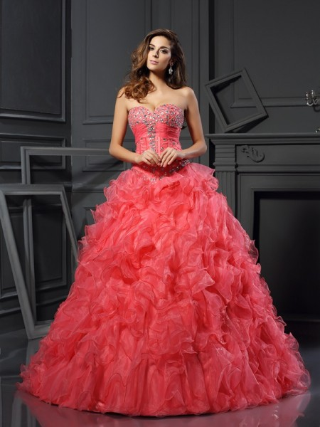 Ball Gown Sleeveless Organza Sweetheart Long Prom Dresses with Ruffles