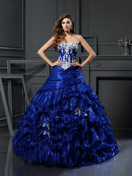 Ball Gown Sweetheart Tulle Sleeveless Floor-Length Prom Dresses with Applique with Beading