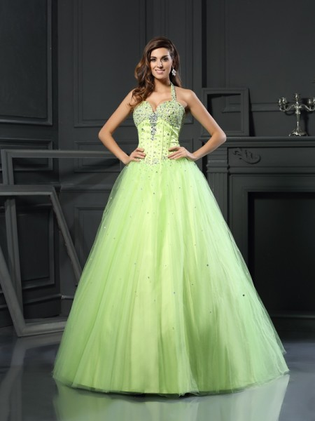 Ball Gown Sleeveless Halter Satin Floor-Length Prom Dresses with Beading