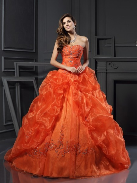 Ball Gown Sweetheart Sleeveless Court Train Organza Prom Dresses with Applique with Beading